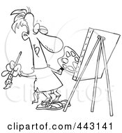 Royalty Free RF Clip Art Illustration Of A Cartoon Black And White Outline Design Of A Male Artist Painting His Masterpiece by toonaday