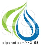 Royalty Free RF Clip Art Illustration Of A Green And Blue Ecology Logo Icon 28