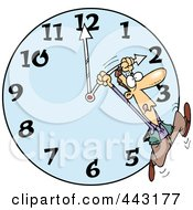 Royalty Free RF Clip Art Illustration Of A Cartoon Man On A Daylight Savings Clock by toonaday