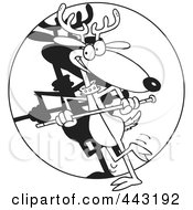 Royalty Free RF Clip Art Illustration Of A Cartoon Black And White Outline Design Of A Dancing Reindeer by toonaday