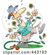 Cartoon Mad Man Pulling Dandelions