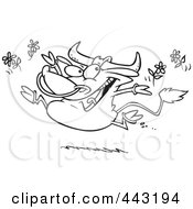 Royalty Free RF Clip Art Illustration Of A Cartoon Black And White Outline Design Of A Happy Bull Tossing Daisies