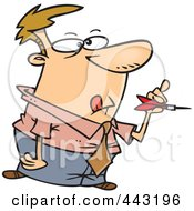 Royalty Free RF Clip Art Illustration Of A Cartoon Businessman Throwing Darts