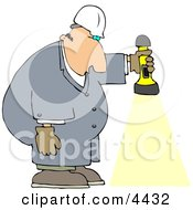 Male Worker Shining A Flashlight Towards The Ground Clipart
