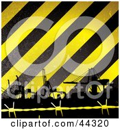 Royalty Free RF Clip Art Of Construction Tower Cranes Against Yellow And Black Striped Background