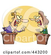 Royalty Free RF Clip Art Illustration Of A Cartoon Businessman And Woman Debating by toonaday