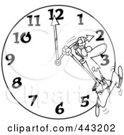 Royalty Free RF Clip Art Illustration Of A Cartoon Black And White Outline Design Of A Man On A Daylight Savings Clock by toonaday