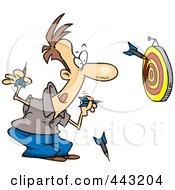 Royalty Free RF Clip Art Illustration Of A Cartoon Man Throwing Darts