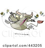 Royalty Free RF Clip Art Illustration Of A Cartoon Happy Bull Tossing Daisies
