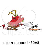 Royalty Free RF Clip Art Illustration Of A Cartoon Demon Shoving Email Down A Hole by toonaday