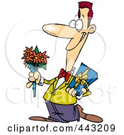 Cartoon Courting Man Holding Flowers And A Gift by toonaday