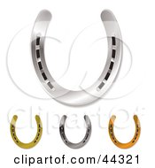 Royalty Free RF Clip Art Of Four Assorted Horseshoes