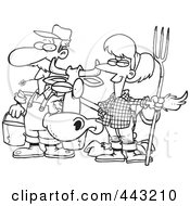 Royalty Free RF Clip Art Illustration Of A Cartoon Black And White Outline Design Of A Farmer Couple With A Cow by toonaday