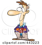 Royalty Free RF Clip Art Illustration Of A Cartoon Pleased Dad Wearing A Ribbon by toonaday