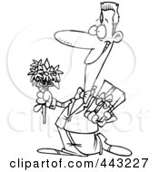 Cartoon Black And White Outline Design Of A Courting Man Holding Flowers And A Gift