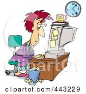 Royalty Free RF Clip Art Illustration Of A Cartoon Tired Woman Trying To Meet Her Deadline