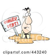 Royalty Free RF Clip Art Illustration Of A Cartoon Businessman Drowning In Debt