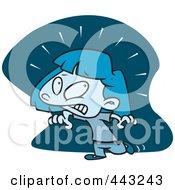 Royalty Free RF Clip Art Illustration Of A Cartoon Girl Afraid Of The Dark