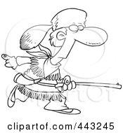 Cartoon Black And White Outline Design Of Davey Crocket Hunting