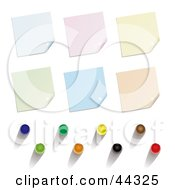 Royalty Free RF Clip Art Of Post It Note Pin Up Variations And Colors by michaeltravers #COLLC44325-0111
