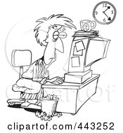Royalty Free RF Clip Art Illustration Of A Cartoon Black And White Outline Design Of A Tired Woman Trying To Meet Her Deadline