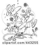 Royalty Free RF Clip Art Illustration Of A Cartoon Black And White Outline Design Of A Mad Man Pulling Dandelions