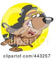 Royalty Free RF Clip Art Illustration Of A Cartoon Bear Dancing