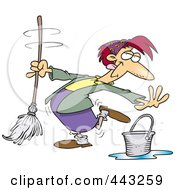 Cartoon Woman Dancing And Mopping