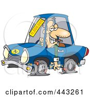Royalty Free RF Clip Art Illustration Of A Cartoon Deceptive Car Salesman