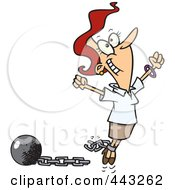 Royalty Free RF Clip Art Illustration Of A Cartoon Woman Breaking Free From Debt by Ron Leishman
