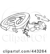 Royalty Free RF Clip Art Illustration Of A Cartoon Black And White Outline Design Of An Email Symbol Crushing A Businessman