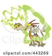 Royalty Free RF Clip Art Illustration Of A Cartoon Dragon Catching A Whiff by toonaday
