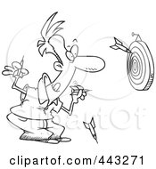 Royalty Free RF Clip Art Illustration Of A Cartoon Black And White Outline Design Of A Man Throwing Darts