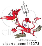 Royalty Free RF Clip Art Illustration Of A Cartoon Hopping Devil by toonaday