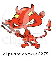 Royalty Free RF Clip Art Illustration Of A Cartoon Boy Devil by Ron Leishman