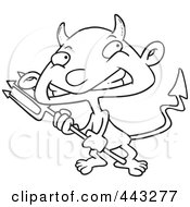 Royalty Free RF Clip Art Illustration Of A Cartoon Black And White Outline Design Of A Boy Devil by Ron Leishman
