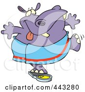 Royalty Free RF Clip Art Illustration Of A Cartoon Hippo Trying To Deceive A Scale by toonaday