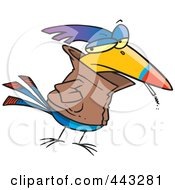 Royalty Free RF Clip Art Illustration Of A Cartoon Delinquent Bird Smoking by toonaday