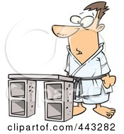 Royalty Free RF Clip Art Illustration Of A Cartoon Karate Man Standing Before A Board by toonaday