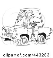 Royalty Free RF Clip Art Illustration Of A Cartoon Black And White Outline Design Of A Deceptive Car Salesman