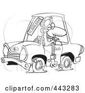 Cartoon Black And White Outline Design Of A Deceptive Car Salesman