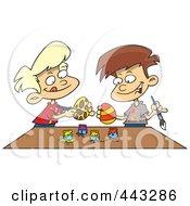 Cartoon Boys Painting Easter Eggs