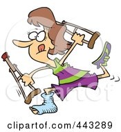 Cartoon Determined Woman Running With Crutches