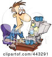 Royalty Free RF Clip Art Illustration Of A Cartoon Exhausted Man Working On A Computer