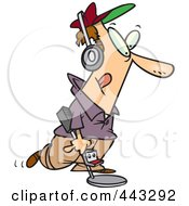 Royalty Free RF Clip Art Illustration Of A Cartoon Man Using A Metal Detector by toonaday