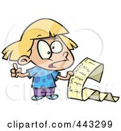Royalty Free RF Clip Art Illustration Of A Cartoon Girl Reading A List Of Demands by toonaday