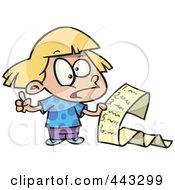 Royalty Free RF Clip Art Illustration Of A Cartoon Girl Reading A List Of Demands