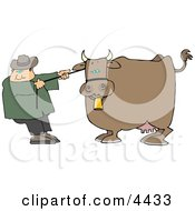 Cowboy Rancher Trying To Move One Of His Cows Clipart
