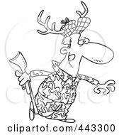 Royalty Free RF Clip Art Illustration Of A Cartoon Black And White Outline Design Of A Deer Hunter Wearing Antlers by toonaday