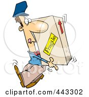 Royalty Free RF Clip Art Illustration Of A Cartoon Delivery Man Carrying A Heavy Box by toonaday